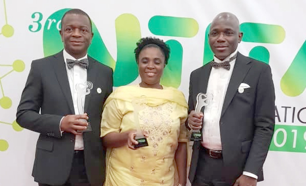 MD/CEO, VDT Communication, Biodun Omoniyi (left), Deputy Managing Director, Bimbo Ikumariegbe and MD, Bitflux, Lekan Balogun at NTITA 2019
